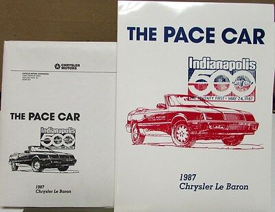 1987 Chrysler Le Baron Press Kit Indy 500 Official Pace Car Carrol Shelby Rare