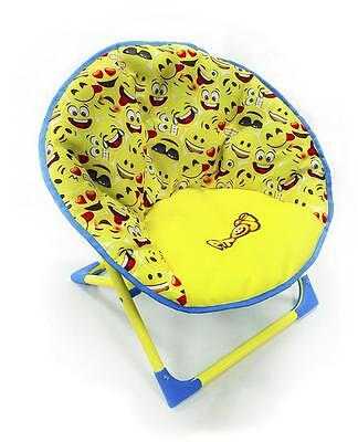 Emoji Smiley Face Folding Moon Fun Chair Kids Children's Boys Girls