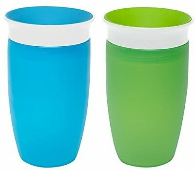 BPA Free Safe No Spill Auto Close Toddler Kids Sippy Cup 2 Pc Green/Blue 10 oz.