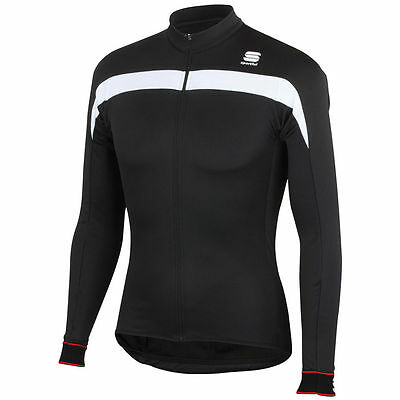 Sportful Pista Long Sleeve Jersey Full Zip - Black/White - Cycling Clothing
