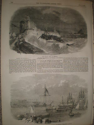 Wreck of the collier brig ship Diana off Penzance 1855 old print