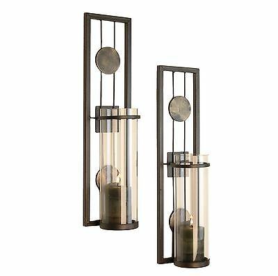 2 PC. Contemporary Metal Candle Sconce Set - HOME DECOR