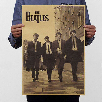New The Beatles Rock Bands Music Poster Vintage Style Kraft Paper Home
