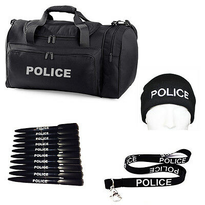 POLICE Holdall, Lanyard & ID holder, Woolly Beanie hat & 10 x Pens