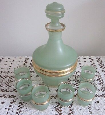Vintage Green Glass Decanter Set With 6 Glasses Sherry, Port Etc