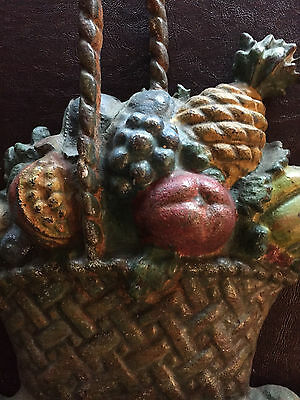 Large Hubley Style Antique Cast Iron Doorstop Basket of Fruit Original Paint!!