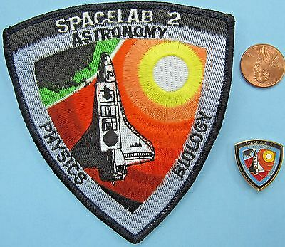 NASA PATCH & PIN PAIR vtg SPACELAB 2 Astronomy Biology Physics SHUTTLE