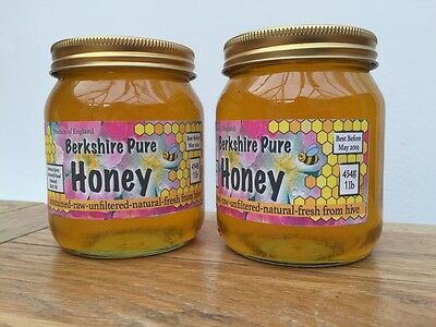 2 Jars of Local Honey Raw Pure English Real Runny 2016