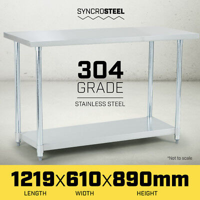 1219 x 610 STAINLESS STEEL 304 COMMERCIAL KITCHEN BENCH FOOD CATERING PREP TABLE
