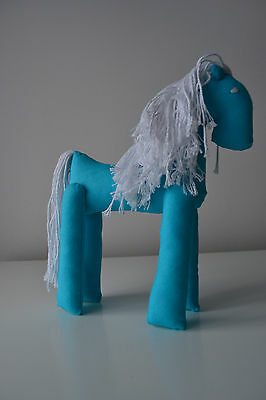 Blue fabric hand made soft toy horse. Original birfday gift for boy or girl.