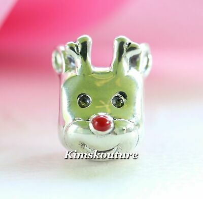 Authentic Pandora Red-Nosed Reindeer Sterling Silver Christmas Charm 791781EN39