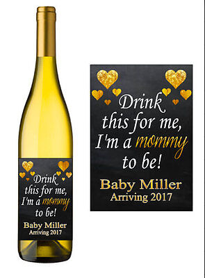 Pregnancy Announcement Wine Label Personalized Custom Sticker Baby Shower Favors