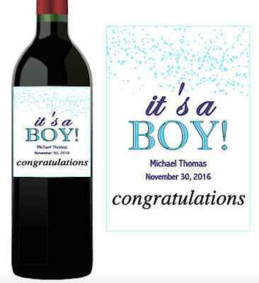 Baby Announcement Wine Label Personalized Custom Sticker ITS A BOY New Favors