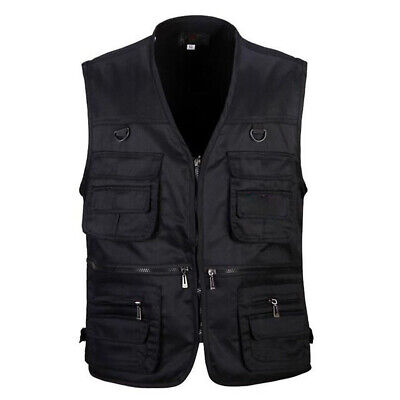 Men's Multi Pocket Fly Fishing Vest Sleeveless Work Waistcoat Hunting Zip Jacket