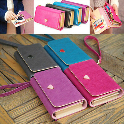 Neuf Portefeuille Portemonnaie Carte Femme Embrayage Wallet pour iPhone Galaxy