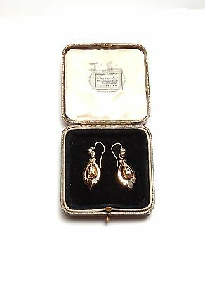 Antique earrings victorian 9 carat rose  gold boxed drops