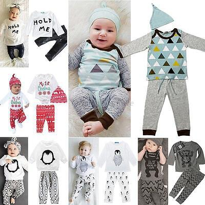 2PC Newborn Infant Baby Kid Clothes Boy Girl Long Sleeve Shirt Tops+Pants Outfit