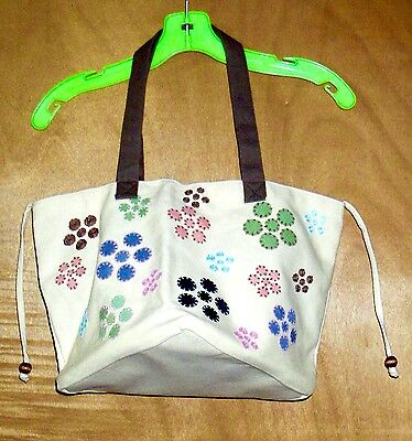 FLORAL TOTE BAG w/Top Closure & Tie Strings / Lined interior w/pockets / Cotton