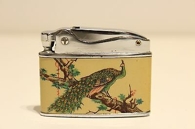 Vintage Nice Tin And Chromed China  Benzin Petrol Cigar Lighter With  Peacock