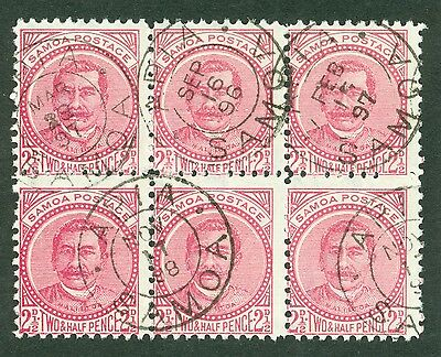 SG 60 Samoa 2½d rose block of 6. Very fine used different cancels