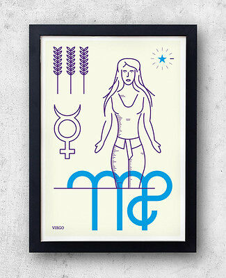 VIRGO Print! Signs of the Zodiac, Astrology, Constellation, Maiden, Birthday Gif