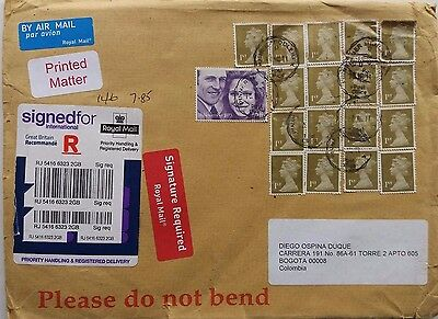 Great Britain 2011 Registered Cover To Colombia With 17 1St Class Forgery Stamps