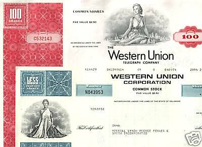 4 DIFF RARE OLD WESTERN UNION STOCKS w 3 SEXY LADIES @ $3.12! FAMED TELEGRAPH CO