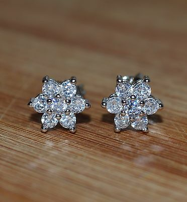 Beautiful Ladies/Girls 925 Sterling Silver Plated Crystal Stud Earrings