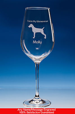 Weimaraner Dog Gift Personalised Engraved Fine Quality Wine Glass