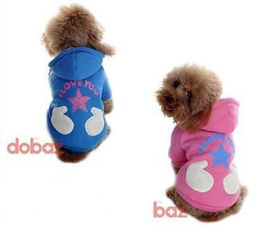 Pet Dog Coat Padded warm Jacket clothes hoodie jumper top pink or blue