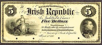 UNIQUE UNLISTED 1866 IRISH REPUBLIC $5 PROGRESS PROOF w/o OVERPRINT! SUPER COND!