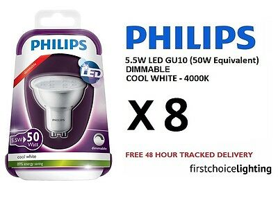 8 x Philips 5.5W (50W) Low Energy DIMMABLE GU10 LED Spot Lamps Bulbs Cool White