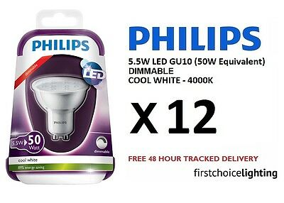 12 x Philips 5.5W (50W) Low Energy DIMMABLE GU10 LED Spot Lamps Bulbs Cool White