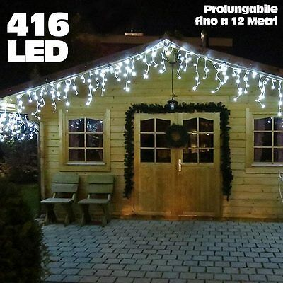Cascata Luminosa 6Mt 416 LED Tenda Natalizia Bianco Freddo + Flash Prolungabile