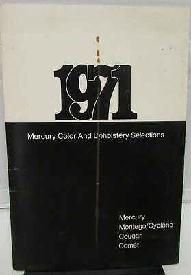 Original 1971 Mercury Dealer Color Upholstery Selections Paint Cougar Cyclone