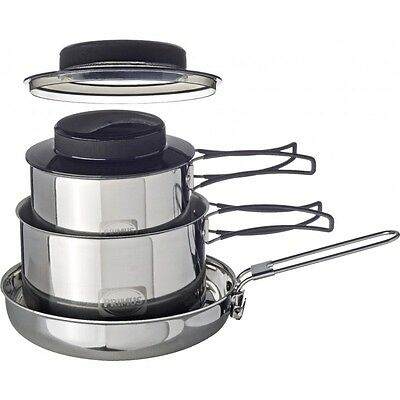 Primus Gourmet Set Stainless Steel Camping Cooking Pot Fry Pan Biker Motorcycle