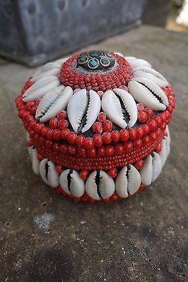 Turquoise  Cowrie Shell And Bead  Lidded Storage Container