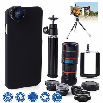 6in1 Fish Eye +Wide Angle Macro +CPL Lens 8x Telephoto Camera per iPhone 6 DC554