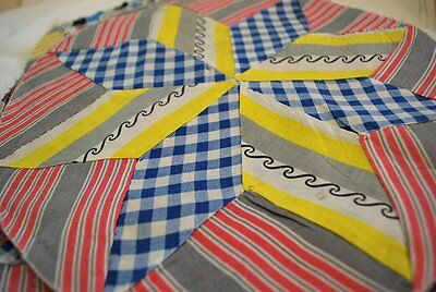 Vintage 1930 Lot Round Quilt Pieces Vibrant Kooky Print Hand Sewn