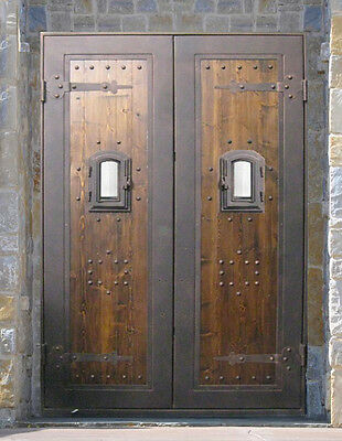 """Double Iron Door Wood Slab With Pull Handles  61 1/2""""W X 96""""H ** NEW IN STOCK **"""