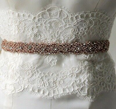 COCO Rose Gold Rhinestone Crystal Diamante Bridal Sash Wedding Dress Belt