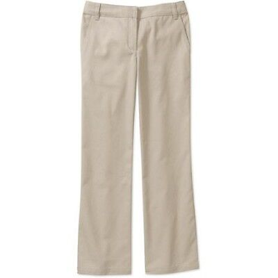 ASW Girls' School Uniform Flat Front Bootcut Pants, 16, Khaki