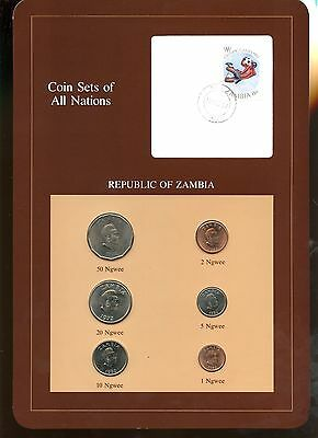 "Zambia ~ 1972-1983 ~ 6 Coin Set ~ Bu ~ ""coin Sets Of All Nations"