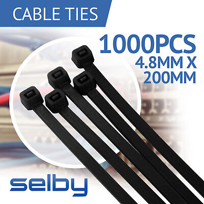 1000 x Bulk Cable Ties Zip Ties Black (4.8mm x 200mm) Nylon UV Stabilised