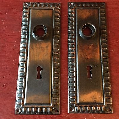 Antique  Pair Of Salvage Architectural Mission  Egg & Dart doorknob Backplates