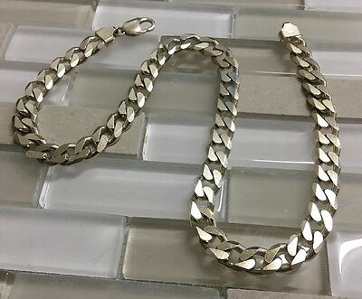 "925 Italy Sterling Silver men's Chain Necklace 18"" inch"