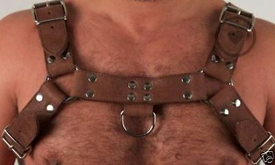 Genuine Leather Chest H-Harness In Brown With Colour Options
