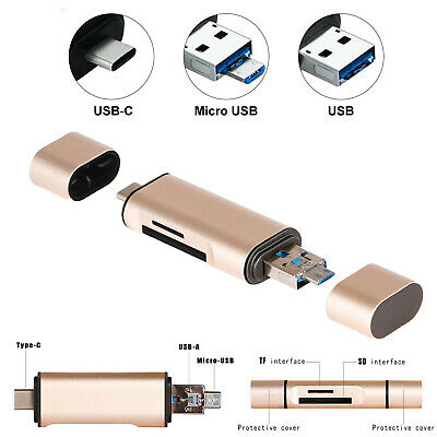 3 IN1 Portable Type C/USB-C/Micro TF SD Memory Card Reader Adapter OTG Windows