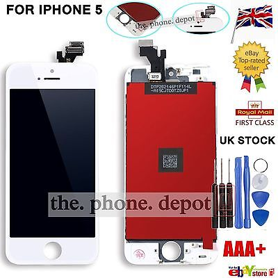 For White iPhone 5 LCD Screen Replacement Touch Display Digitizer Glass Assembly