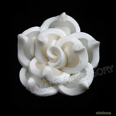 30x 111659 Charms White Lotus Flower Polymer Clay Beads 25mm FREE SHIPPING